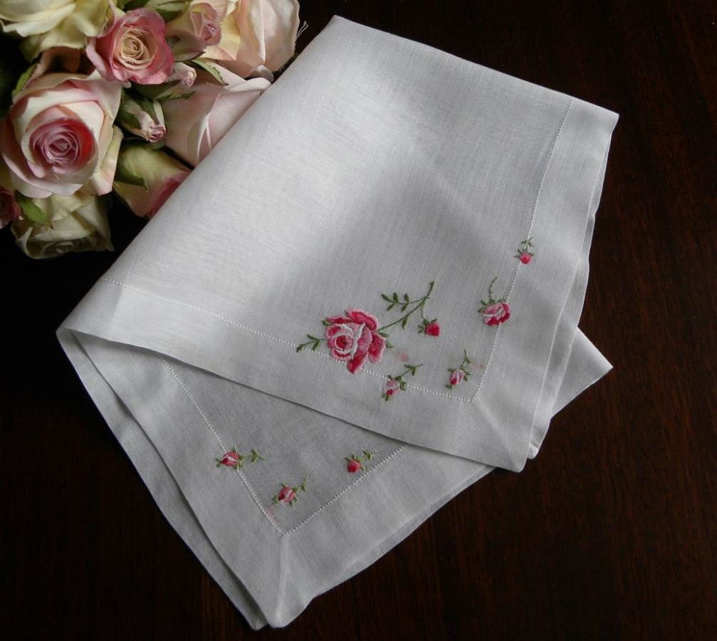 Vintage Embroidered Pink Rose Handkerchief - The Pink Rose Cottage