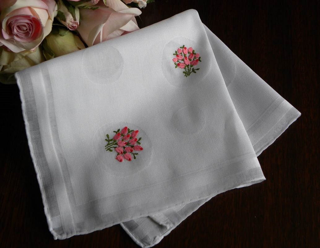 Vintage Embroidered Pink Rose Bouquet and Dots Handkerchief - The Pink Rose Cottage