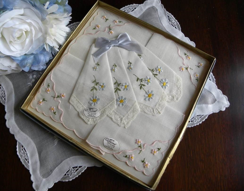Vintage Unused Brumel Boxed Pink and Blue Daisies Bridal Handkerchiefs - The Pink Rose Cottage