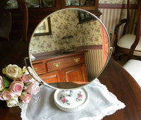 Vintage Swivel Vanity Mirror with Pink Roses - The Pink Rose Cottage