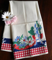 Unused Wilendur with Donkey Planter and Daisies Tea Towel - The Pink Rose Cottage