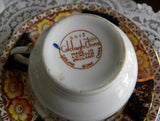 Vintage Colcough China Cobalt and Rust Teacup and Saucer - The Pink Rose Cottage