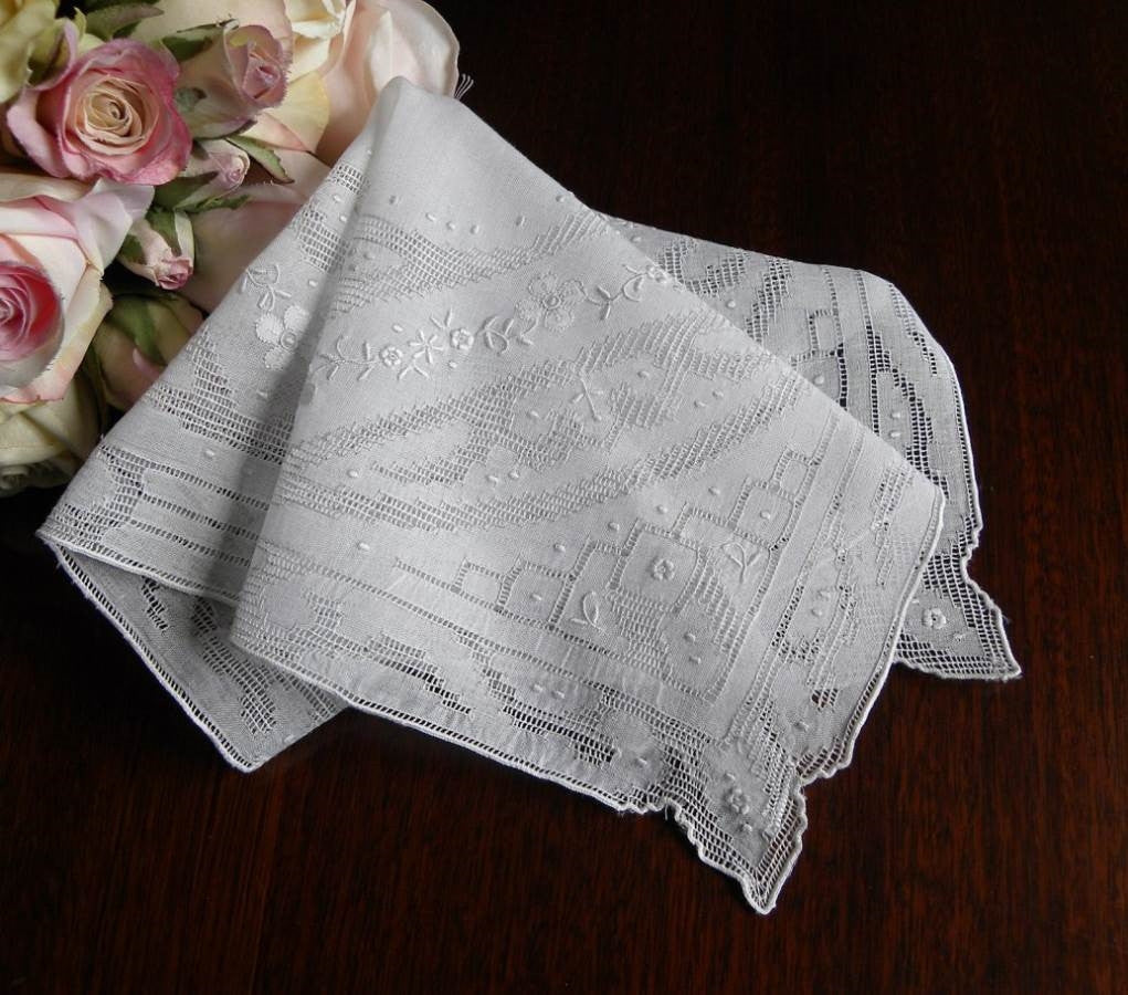 Vintage Wedding Handerchief with Hand Emboridery and Pulled Thread Whitework - The Pink Rose Cottage