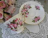 Vintage Queen Anne Pink Roses Teacup and Saucer - The Pink Rose Cottage