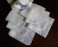 Set of 6 Vintage Madeira Blue and White Linen Tea Napkins - The Pink Rose Cottage
