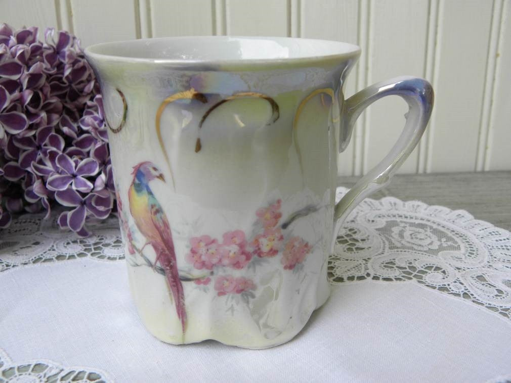 Antique Pheasant and Pink Blossoms Shaving Mug - The Pink Rose Cottage