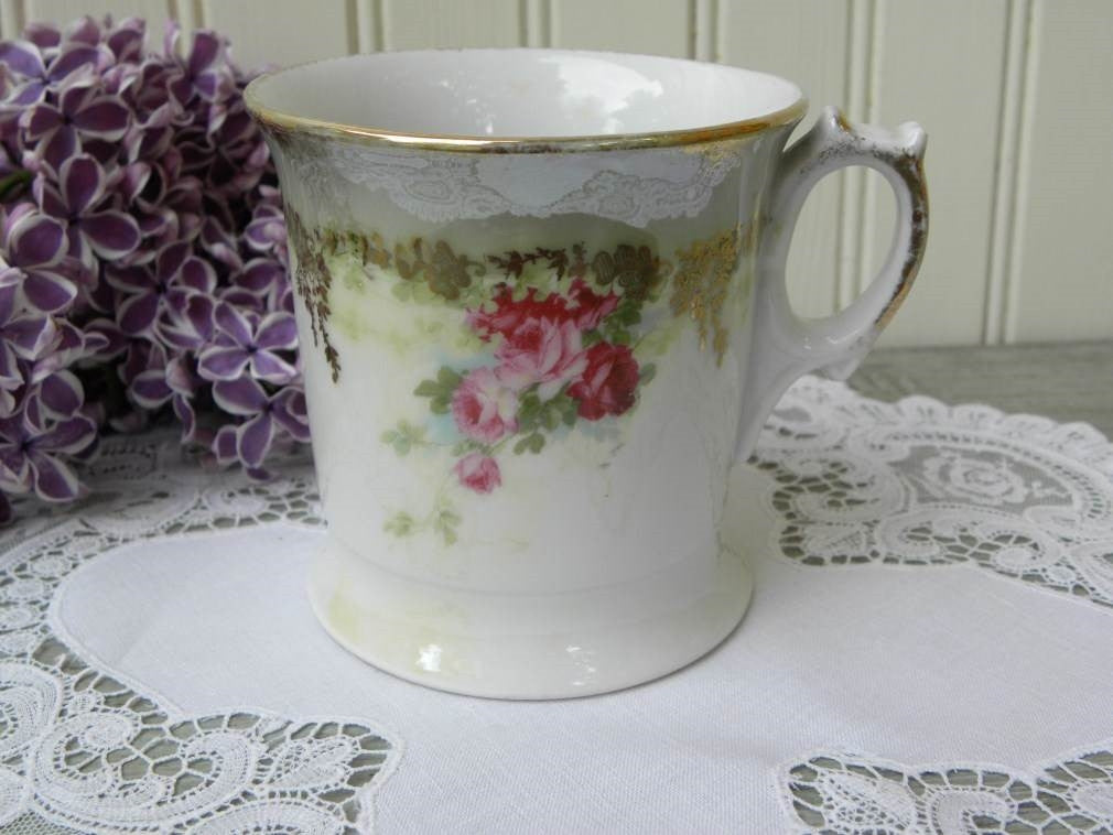 Antique Iridescent Pink Rose Shaving Mug - The Pink Rose Cottage