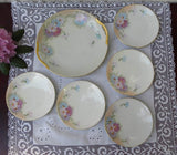Vintage Hand Painted Pastel Cosmos Dessert Set Cake Plate - The Pink Rose Cottage
