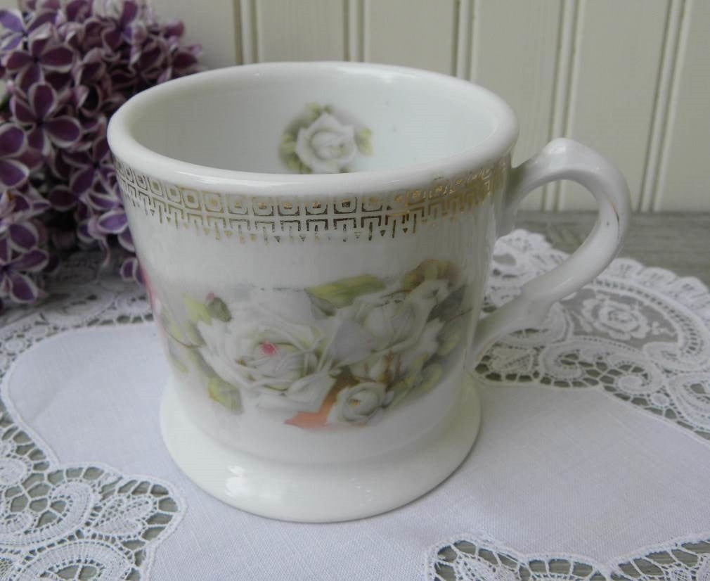 Antique White and Pink Roses Shaving Mug - The Pink Rose Cottage