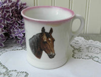 Antique Shaving Mug with Horse - The Pink Rose Cottage