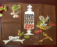 Unused Vintage Martex Mid Century Olive Fish Veggie Brown Tea Towel - The Pink Rose Cottage