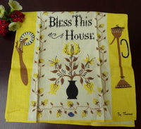 Unused Vintage Peg Thomas Bless This House Tea Towel - The Pink Rose Cottage
