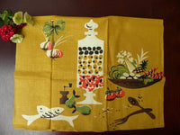 Unused Vintage Martex Mid Century Olive Fish Veggie Gold Tea Towel - The Pink Rose Cottage