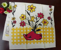 Unused Vintage Startex Dutch Shoe and Flowers Tea Towel - The Pink Rose Cottage