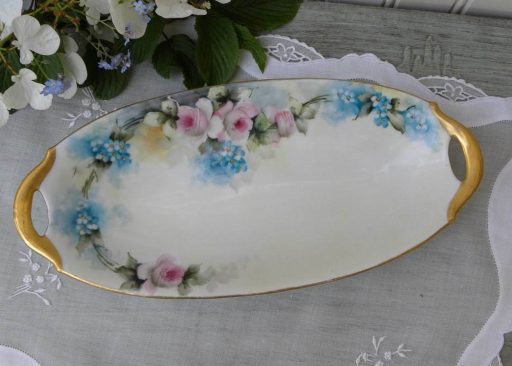 Vintage Hand Painted Pink Roses and Forget Me Nots Oval Handled Dish - The Pink Rose Cottage