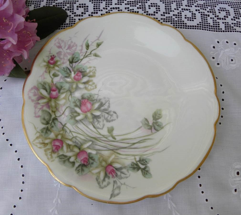 Vintage Hand Painted Pink and White Fuchsia Plate - The Pink Rose Cottage