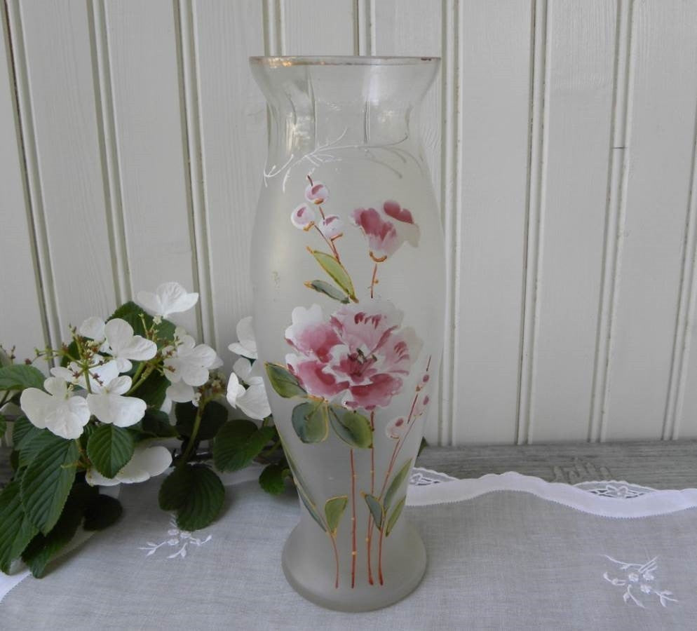 Antique Hand Painted Enameled Pink and White Carnation Vase - The Pink Rose Cottage