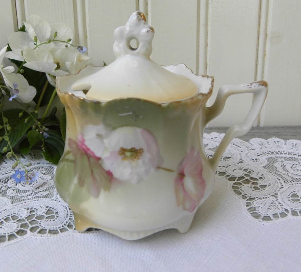 Antique Hand Painted Pink Poppy Mustard Pot - The Pink Rose Cottage