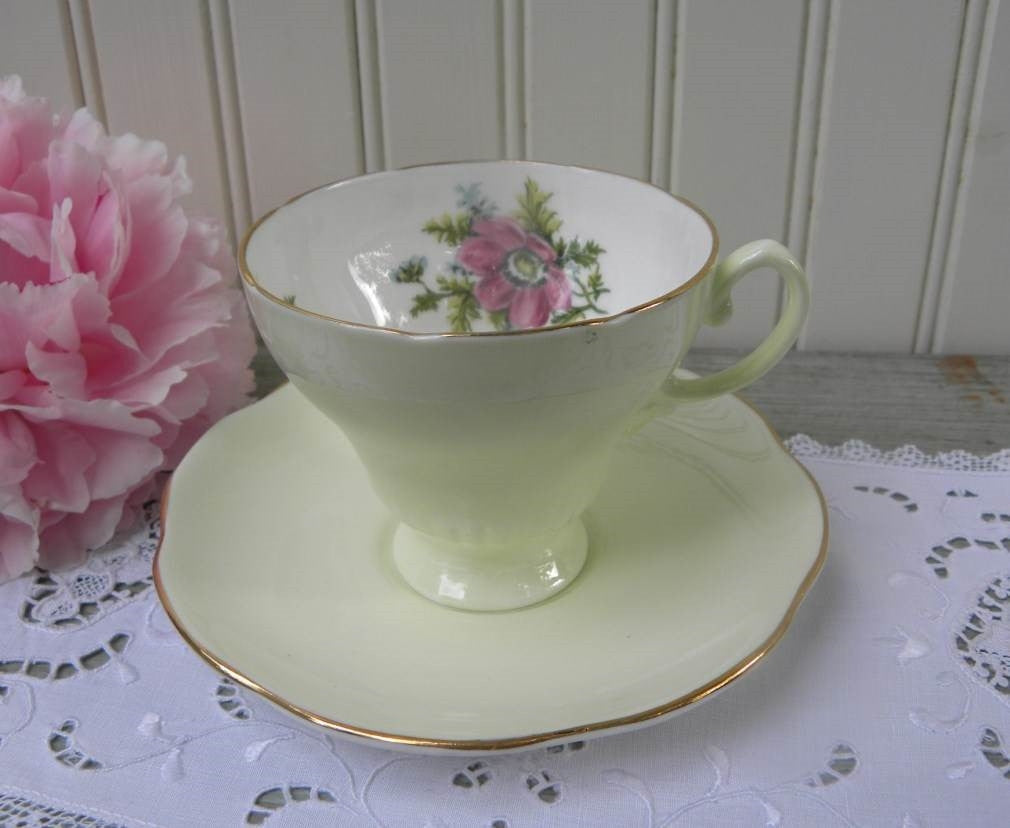 Vintage Soft Green and Pink Cosmos Teacup and Saucer - The Pink Rose Cottage