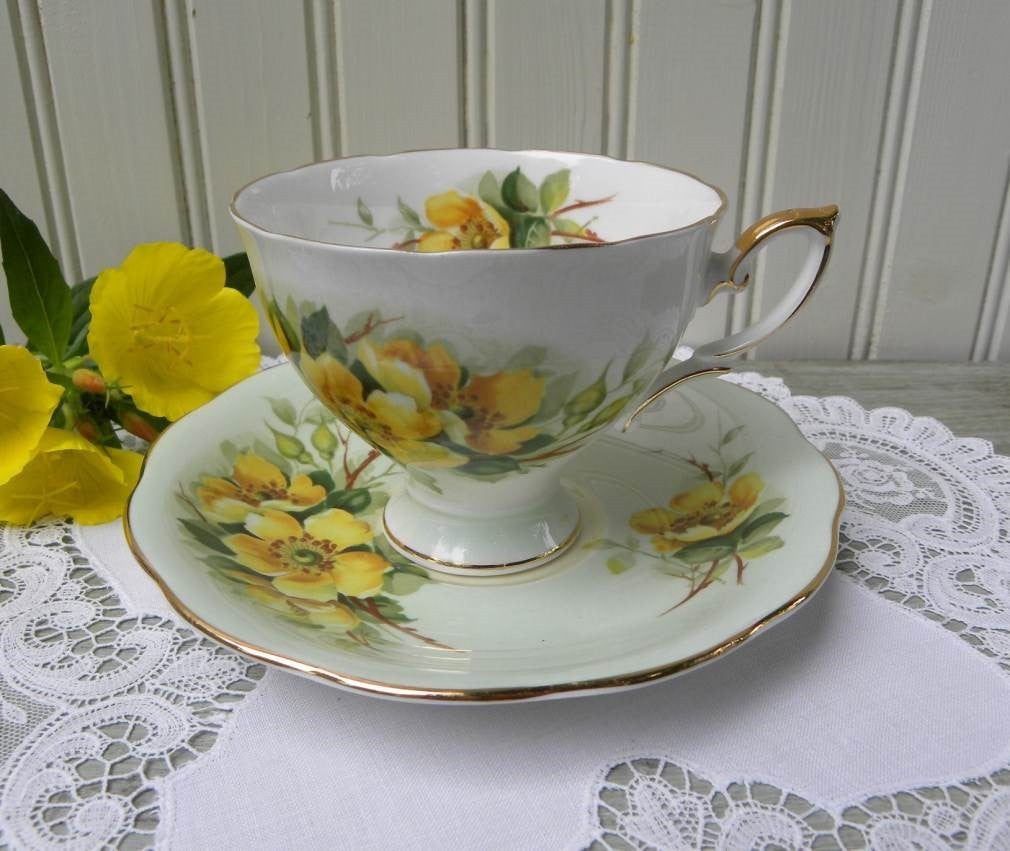 Vintage Soft Green Teacup and Saucer with Yellow Wild Roses - The Pink Rose Cottage