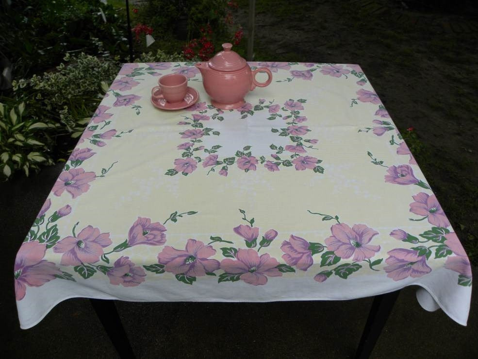 Vintage Pink and Purple Hibiscus on Yellow Tablecloth - The Pink Rose Cottage