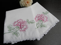 Vintage Embroidered Pink Roses Pillowcases - The Pink Rose Cottage