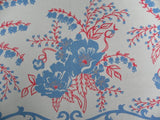 Vintage Red White Blue Floral Tablecloth - The Pink Rose Cottage