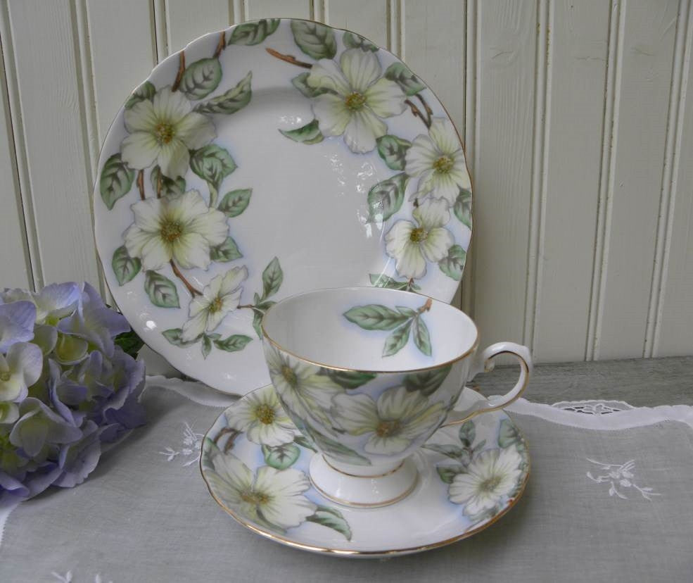 Vintage Tuscan Dogwood Teacup and Luncheon Plate Set & Vintage Tuscan Dogwood Teacup and Luncheon Plate Set | The Pink Rose ...