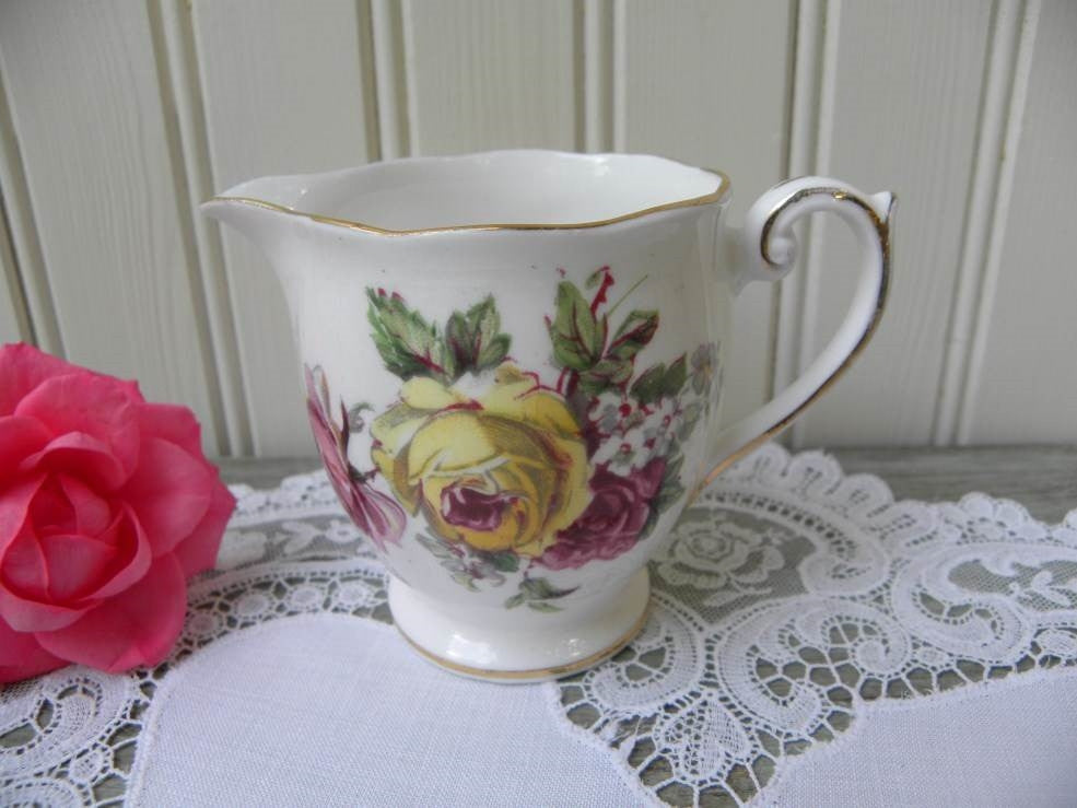 Vintage Queen Anne Manor Roses Creamer Pink and Yellow Roses - The Pink Rose Cottage