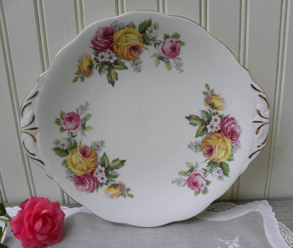 Vintage Queen Anne Manor Roses Handled Serving Platter - The Pink Rose Cottage