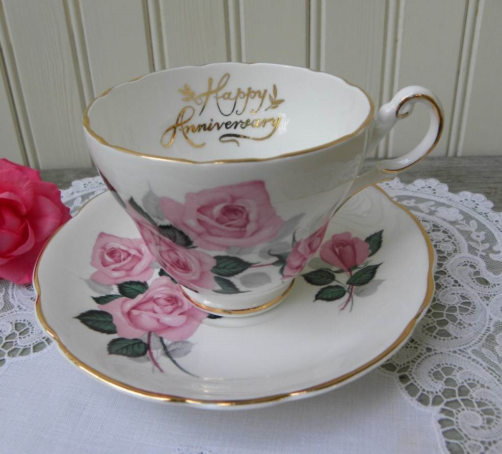 Vintage Pink Rose Happy Anniversary Teacup and Saucer - The Pink Rose Cottage