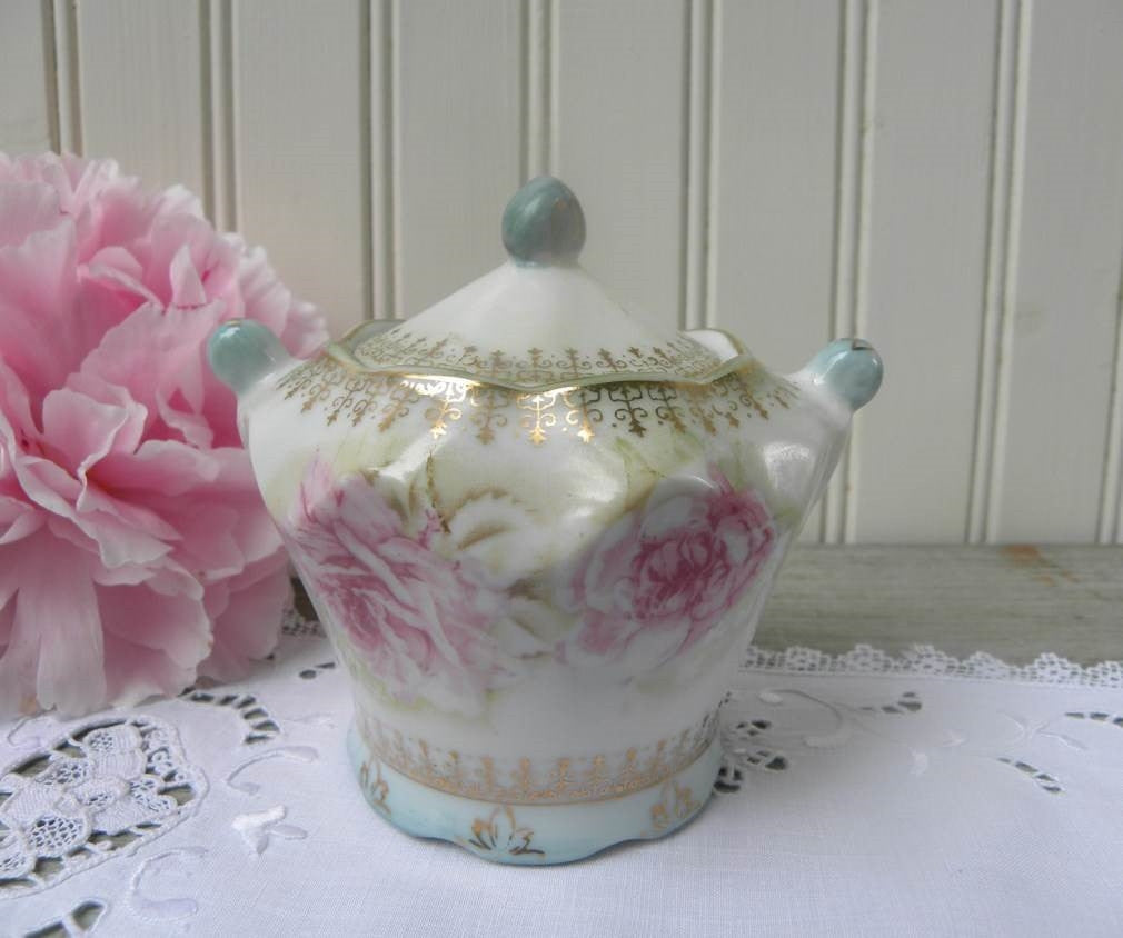 Vintage Pink Rose and Blue Mustard or Jam Pot - The Pink Rose Cottage