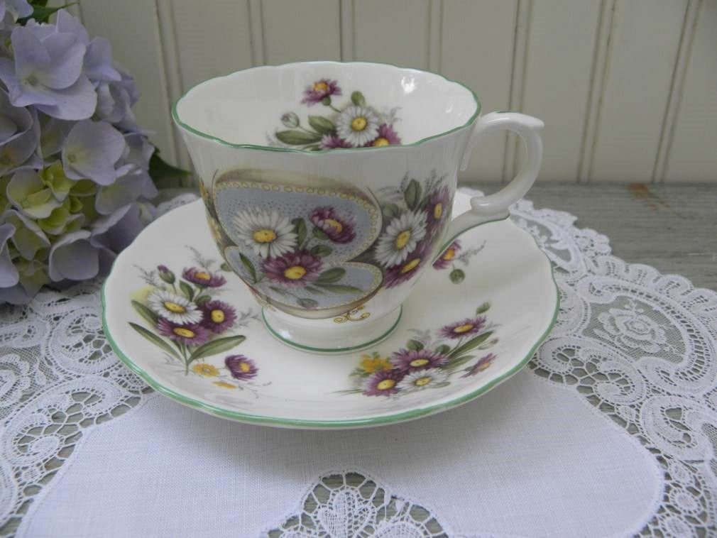 Vintage Crown Staffrodshire Anniversary Greetings September Daisy Teacup and Saucer - The Pink Rose Cottage