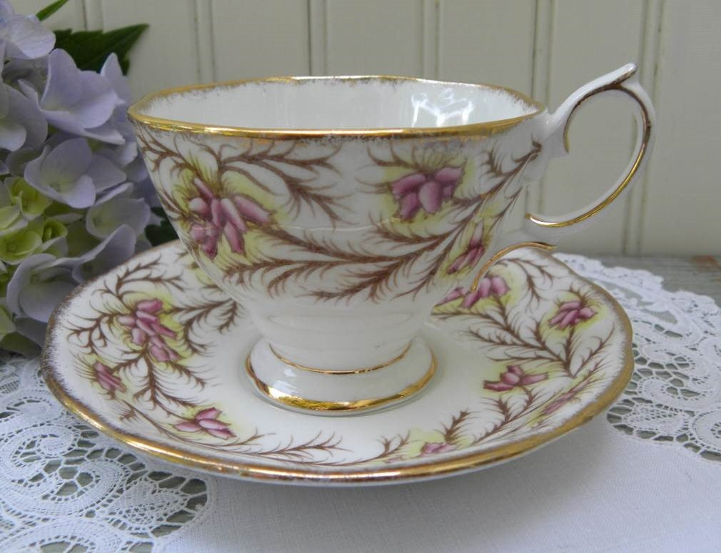 Vintage Royal Albert Heather Bell Teacup and Saucer - The Pink Rose Cottage