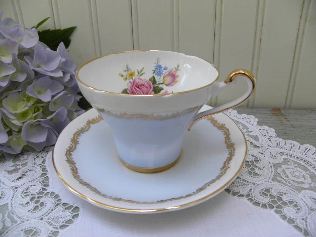 Vintage Royal Stafford Blue Teacup and Saucer with Roses - The Pink Rose Cottage