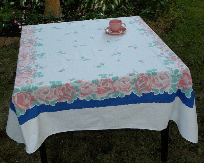 Vintage Pink Rose with Blue Tablecloth - The Pink Rose Cottage