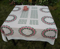 Vintage Ivan Bartlett Strawberry Wreath Tablecloth - The Pink Rose Cottage