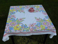 Vintage Springmaid Pastel Tropical Lily Tablecloth - The Pink Rose Cottage