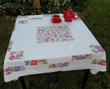 Vintage Blocks of Colorful Flowers Tablecloth - The Pink Rose Cottage