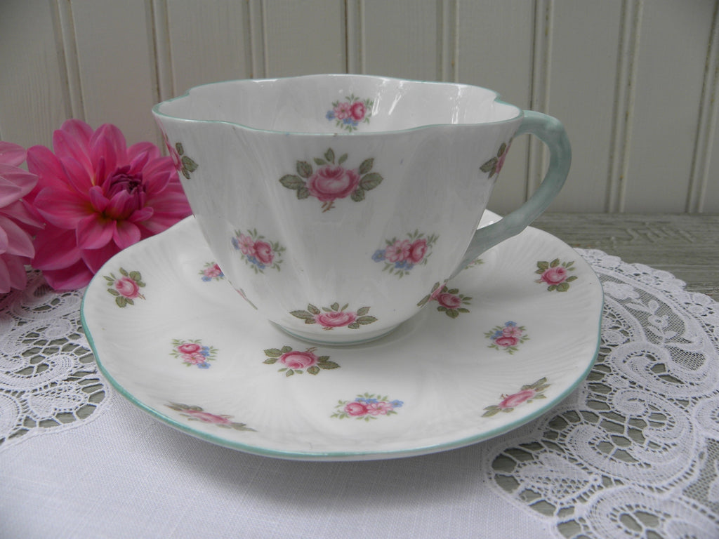 Vintage Shelley Rosebud Dainty Tea Teacup and Saucer - The Pink Rose Cottage