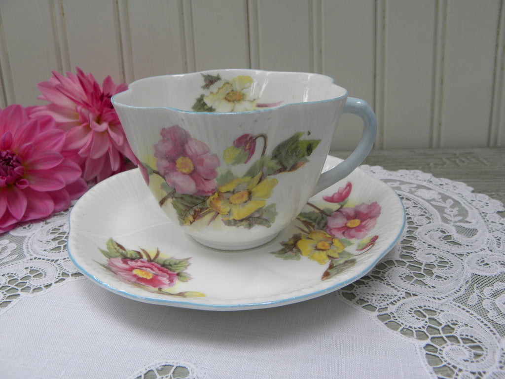 Vintage Shelley Begonia Dainty Tea Teacup and Saucer - The Pink Rose Cottage