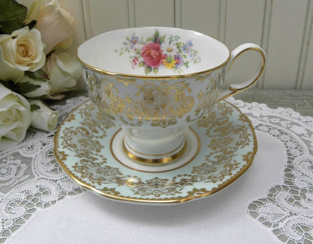 Vintage  Paragon Pink Rose and Wildflower Blue Teacup and Saucer - The Pink Rose Cottage