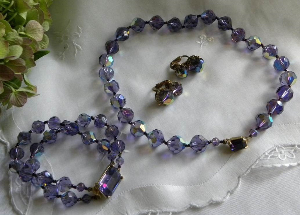 Vintage Amethyst Crystal Glass Beaded Necklace Bracelet and Earrings Set - The Pink Rose Cottage