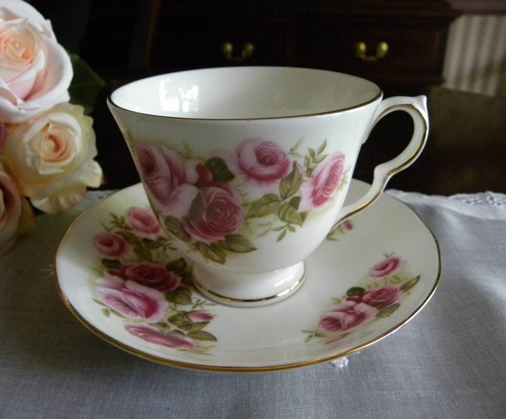 Vintage Queen Anne Pink Rose Teacup and Saucer - The Pink Rose Cottage