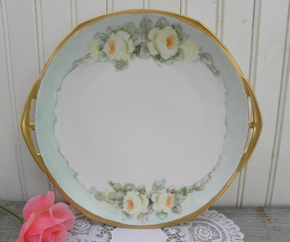 Vintage Hand Painted Handled Cake Plate with Yellow Roses - The Pink Rose Cottage