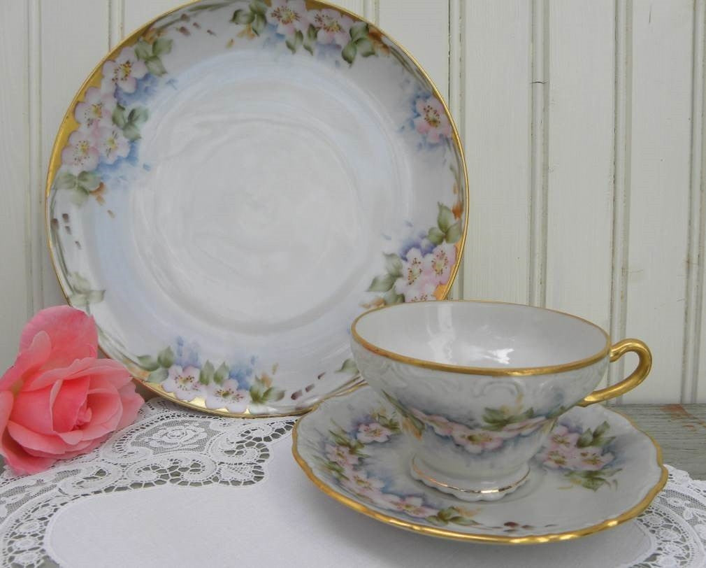 Vintage Hand Painted Pink Cherry Blossoms Teacup and Dessert Plate Set - The Pink Rose Cottage