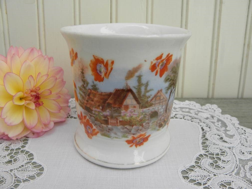 Antique English Cottage by the Sea Shaving Mug - The Pink Rose Cottage