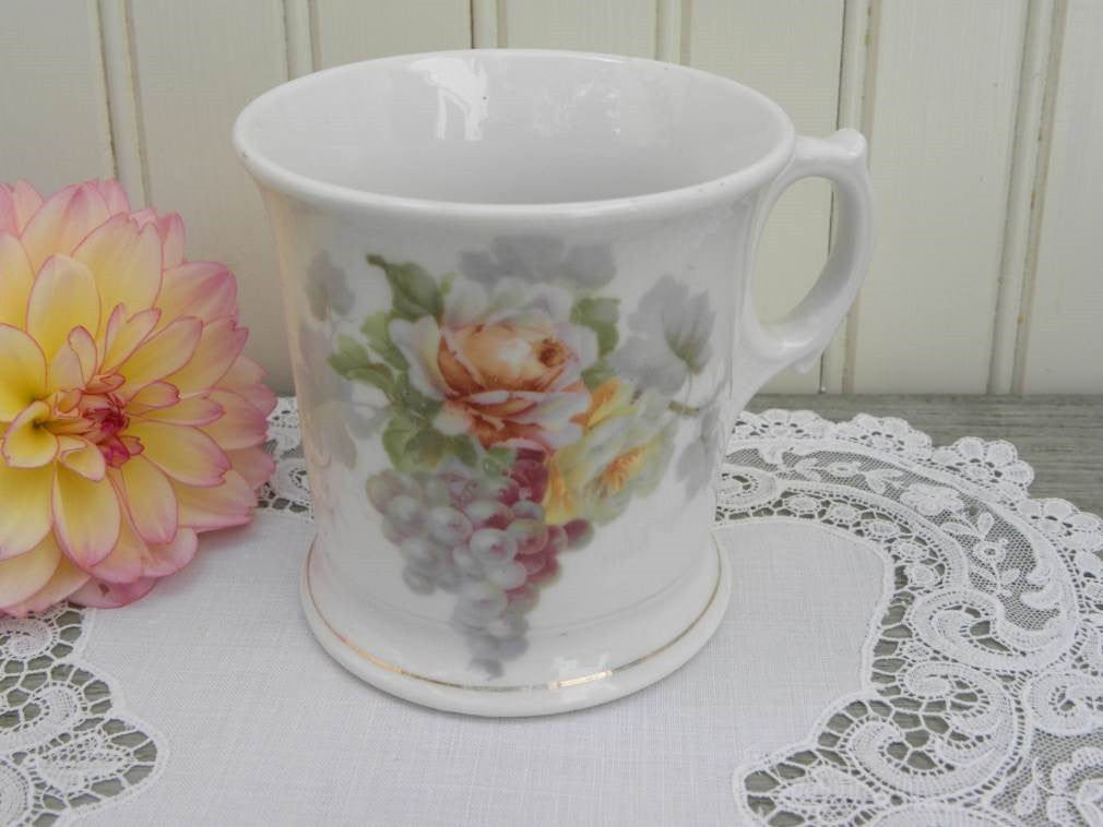 Antique Shaving Mug with Pastel Roses and Grapes - The Pink Rose Cottage