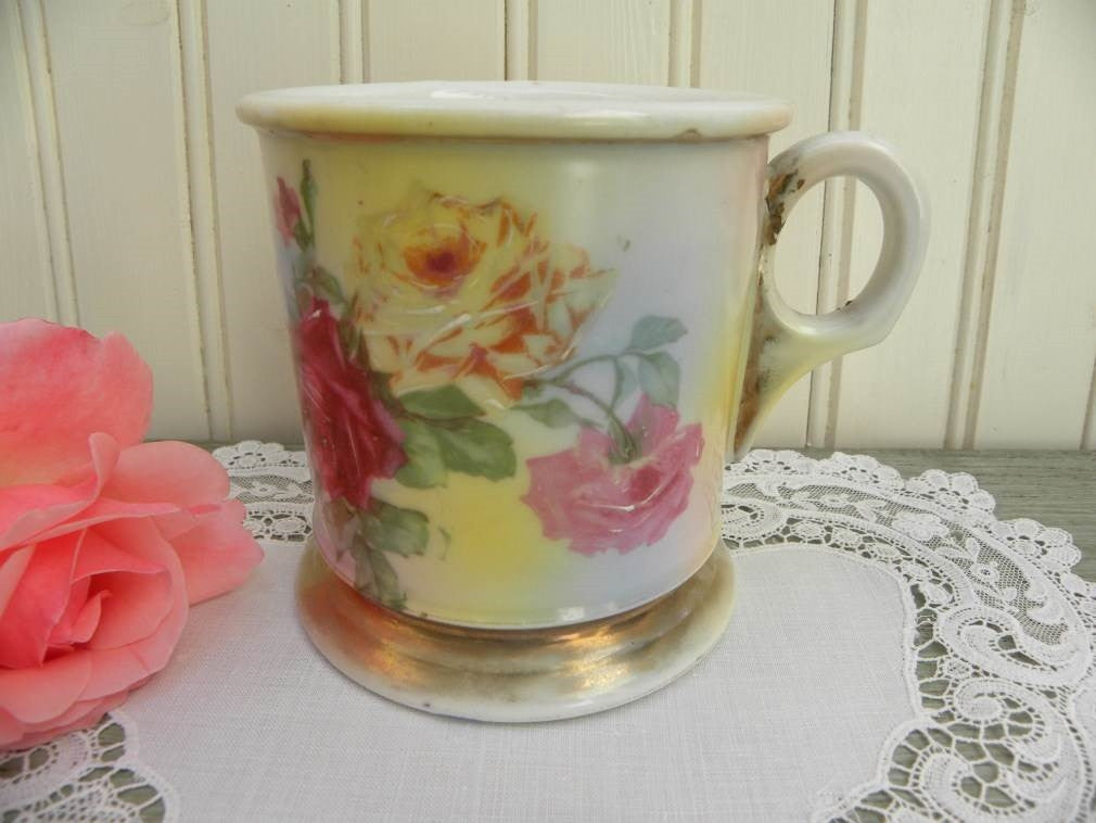 Antique Shaving Mug with Pink and Yellow Roses - The Pink Rose Cottage