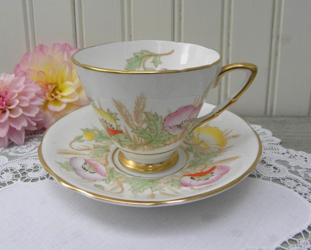 Vintage Royal Stafford Pastel Poppies Teacup and Saucer - The Pink Rose Cottage